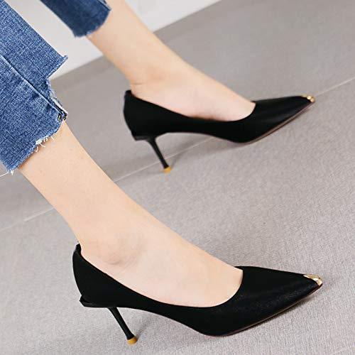 HRCxue Pumps Sexy rote Hochzeit Schuhe Stilett Heels Damenmode Metall Stoff Schuhe, 34, schwarz