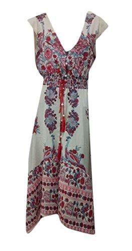 Neck Deep Dress Low Floral up High Dresses Print Women's Hem Split Bohemian Pink Button Jaycargogo V qvS77