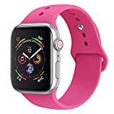 BicasLove Compatible for Apple Watch Band 38mm 40mm 42mm 44mm Silicone Replacement Sport Strap Compatible for iWatch Series 4/3/2/1 Bands Women Men