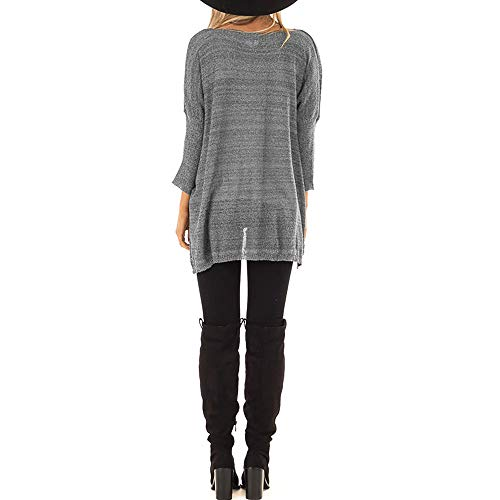 Camisetas Mymyg Manga Pull Jersey Punto Mujer Gris Invierno De Blusa Color Otoño Suéteres Jumper Sólido Suéter Para Murciélago Suelto over qFPqwrx4n