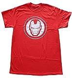 iron man logo shirt - Iron Man Mask Logo Mens Red T-Shirt (Large)