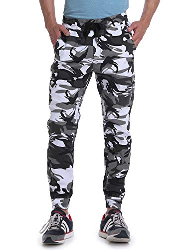 OCHENTA Men's Casual Twill Drawstring Jogger, Slim Fit Tapered Chino Pants Black White Camo Tag 40 - US 38