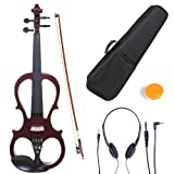 Cecilio CEVN-1NA Ebony Fitted Silent Electric Violin, Style 1, Metallic Mahogany, Size 4/4 (Full Size)
