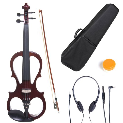 Cecilio 4/4 CEVN-1W Solid Wood Electric/Silent Violin with Ebony Fittings in Style 1 - Full Size - Pearl White Cecilio Musical Instruments 4/4CEVN-1W