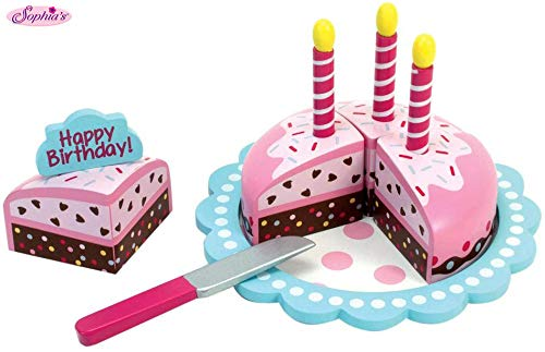 Childrens Wooden Play Food Set, Birthday Cake with Candles & Serving Tool! Wood Play & Pretend Food Candles & Happy Birthday Cake Set