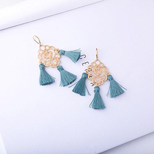 Wansan Vintage Hollow Multi-Layer Tassel Earrings Bohemian Ethnic Dangle Hanging Rope Long Tassel Stud Earrings for Women Girls