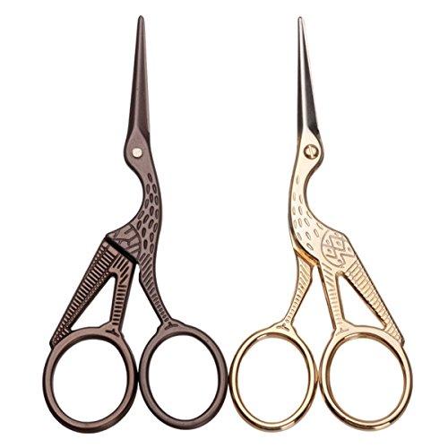 Eyebrow Scissors - Gold Bronze Stork Embroidery Scissors Eyebrow Ear Hair Trimmer by DOM - Eyebrow Scissors