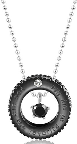AnaZoz Fashion Jewelry Stainless Steel Necklace Wheel Gear Rings Lettering With Cubic ZirconMen