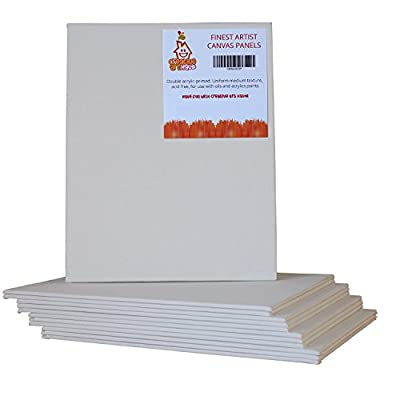 """12x Canvas Panels 8X10"""" Set - Pack of 12 Blank Artist Canvas Boards For Art Painting - Ideal for Acrylic, Oil, Watercolor"""