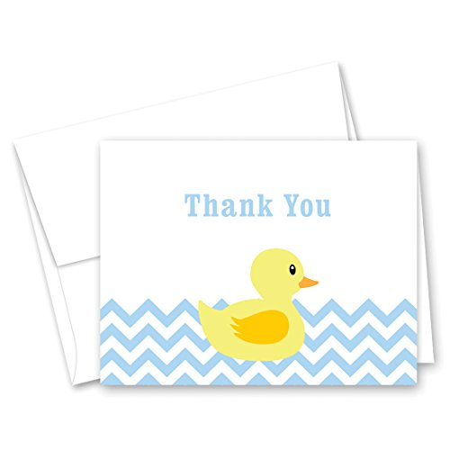 50 Cnt Blue Chevrons Yellow Duck Baby Shower Thank You Cards]()