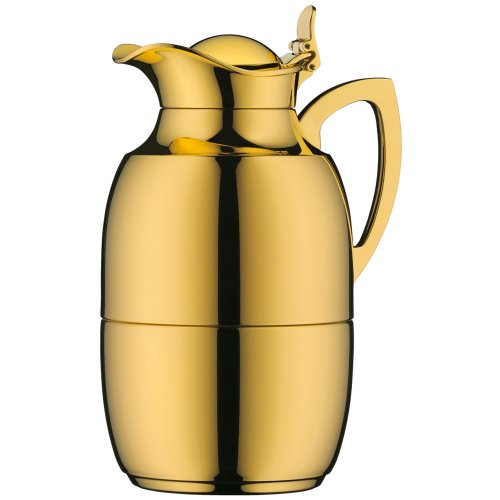 Alfi Juwel Gold Plated Brass Thermal Carafe, 8-Cup