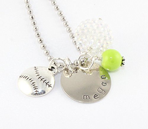 Softball Personalized Charm Necklace - Soft Ball or Baseball Custom Gift - Coach Gift - Sports Team - Traditional Coach