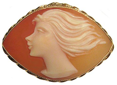 Brooch 18k Cameo (Cameo Brooch Pendant Modern Art Master Carved, Italian Carnelian Shell Navette 18k Gold)