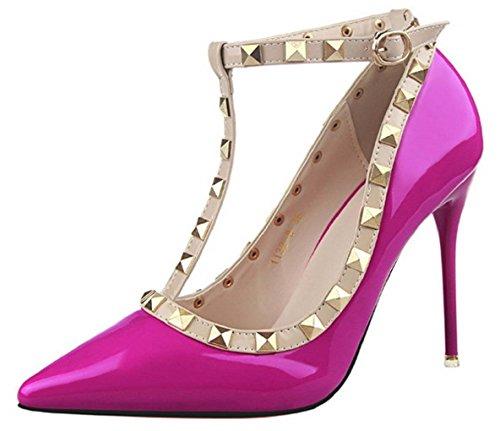 HooH Women's Ankle Strap Rivet Stiletto Wedding Pumps 1132-8 Rose Red vHQW7YflG6