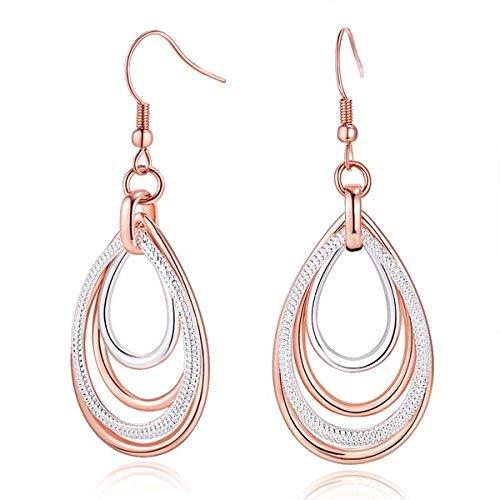 Carfeny Rose Gold and Silver Earrings Two Tone Dangle Earrings, Multilayer Heart Shaped Teardrop Earrings for Women, Hypoallergenic Earring ❤️Girls Women Jewelry Gift❤️