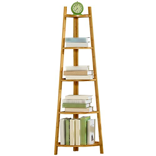 XIAOYAN Shelves Standing Corner Bookshelf Wooden Display Ladder 5-Tier Corner Rack for Storage Book Plant Flower (Wood/White/Black) (Color : Wood)
