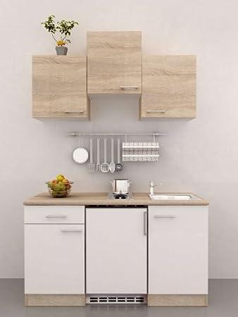 Singleküche 150 cm breit weiß sonoma eiche mit geräten salerno