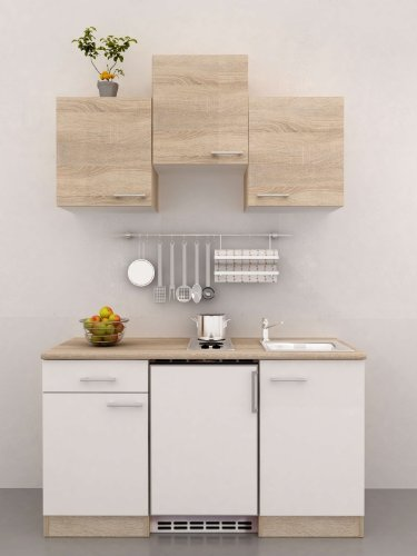 Amazon.de: Singleküche 150 cm breit Weiß Sonoma Eiche mit Geräten ...