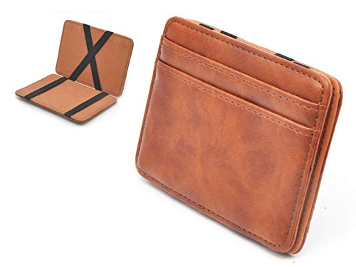 Slim Money Clip Pocket Wallet Case for Men and Women, Minimalist Front Pocket Wallet with Card Slots, Genuine Leather (Brown)