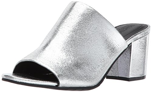 Kenneth Cole REACTION Women's Mass-TER Mind Open Toe Block Heel Metallic Slide Pump, Silver, 9 M (Metallic Open Toe Pumps)