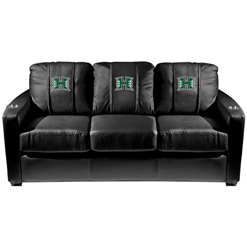 XZipit College Silver Sofa with Hawaii Rainbow Warriors Logo Panel, Black