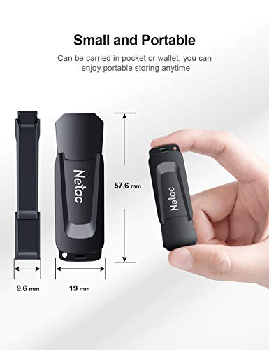 Netac 64G USB 3.0 Flash Drive, High Speed Memory Stick,Up to 90/30 MB/s(R/W) Pen Drive, Thumb Drive for Data Storage, Zip Drive and jump Drive with LED Light
