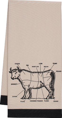 HIC Chef's Cut Chart Cow Kitchen Towel, 20 by 30-Inch