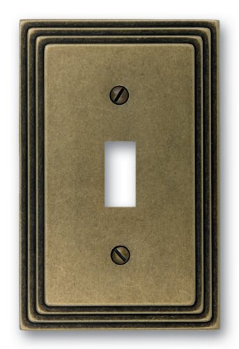 Amerelle Steps Single Toggle Cast Metal Wallplate in Rustic Brass
