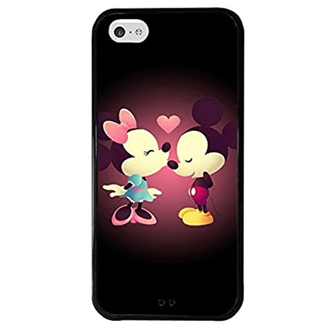 iPhone 5c case, Onelee Disney Cartoon Mickey Mouse Tire tread pattern TPU Rubber Black iPhone 5c Case Neverfade Scratchproof (Disney Cell Phone Cases Iphone 5c)