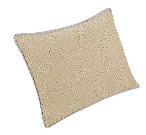 Each Quilted Sham (Brielle Casablanca, Reversible  Sham Set, Standard, Grey/Linen,Standard Sham Set)