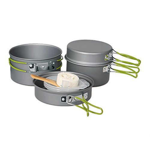 Preup Camping Pots Pans, 10 Pieces Portable Outdoor Cookware Set Folding Cooking Mess Kit with Storage Bag for Backpacking Hiking Picnic