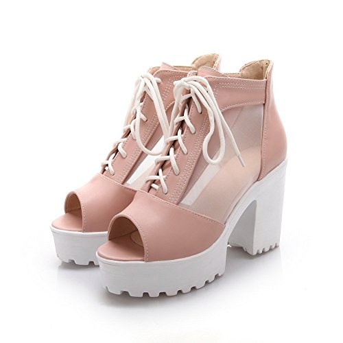 Ladies Platform Sandals Bandage Soft Material Pink Height 1TO9 dAP7zBqd