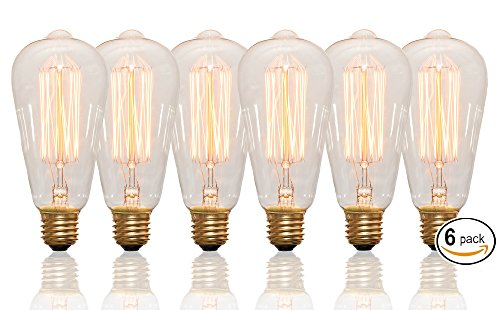 Edison Bulbs Vintage 60 Watt Light Bulbs - 6 Pack - Squirrel Cage filament - 120 Volt - ST64 - 240 lm - 2100 kelvin - Clear bulb - Dimmable - Antique Vanity - Incandescent - Perfect for Chandelier
