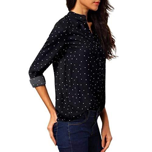 Moda Coreana Autunno di Accogliente Casual Grazioso Shirts Elegante Blusa Donna Top Giovane Collo Dots Primaverile Schwarz Breasted Manica Lunga Camicia Single Polka Moda 6CUqw8E
