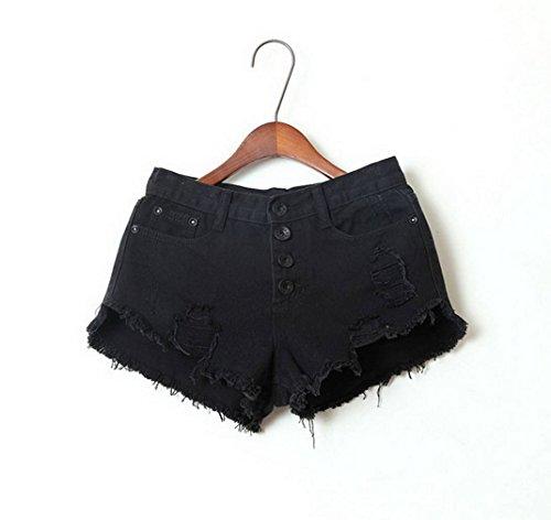 Short COMVIP Noir Ample Plage Short Et Taille Haute Jean Basique Femme Trous Hot gHpwqHxaT