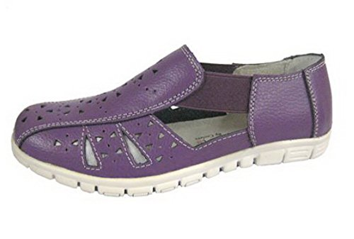 Coolers Ladies Wide EEE Fitting Leather Casuals/Sandals Plum TjhpGd