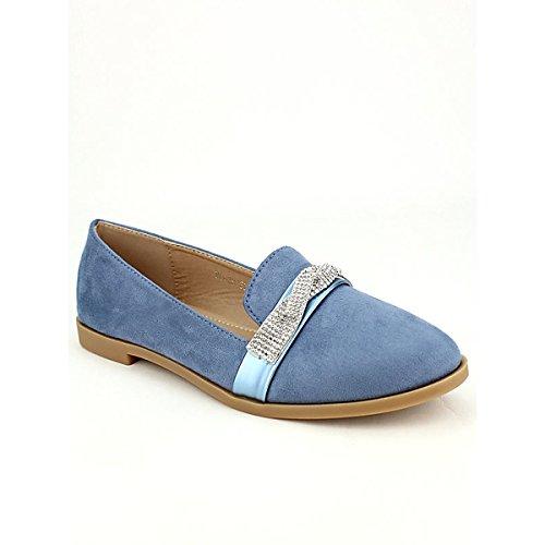 Femme Simili Derbies Strass Sens Bleue Bleu Chaussures Sixth Cendriyon 045Swwq