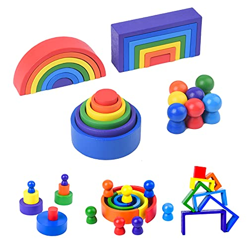 WODI Wooden Rainbow Stacking Toy 27 PCS Early Educational Sorting Nesting Building Blocks Matching Games Montessori Sensory Toys Learning Gifts for Preschool Kids Boys and Girls Age 3+