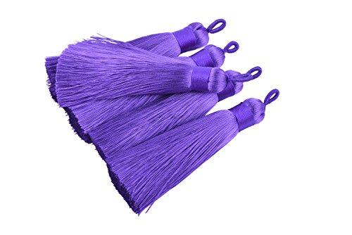(KONMAY 10pcs 3.4''(8.5cm) Handmade Imitation Silk Tassels with Hanging Loop for Jewelry Making (Purple))