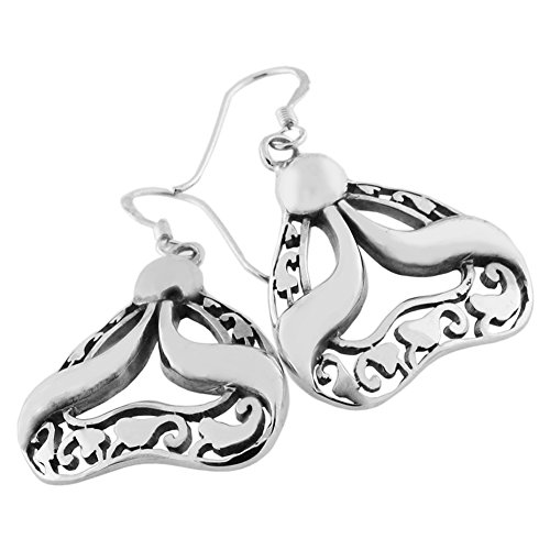 (Sterling Silver Filigree and Solid Ribbon Dangle Earrings)
