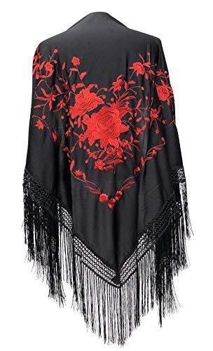La Senorita Spanish Flamenco Dance Shawl black red Large (Spanish Dance Flamenco)