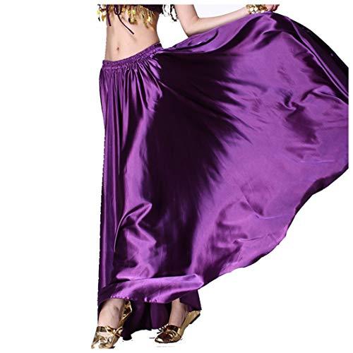 MUNAFIE Belly Dance Satin Skirt Arabic Halloween Shiny Skirt Fancy Full Skirt US0-14 -
