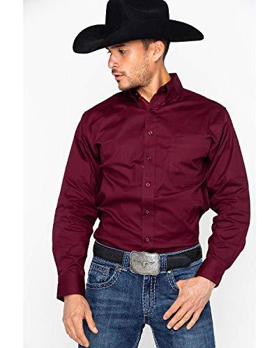 (Panhandle Men's Solid Stretch Poplin Shirt Burgundy Medium )