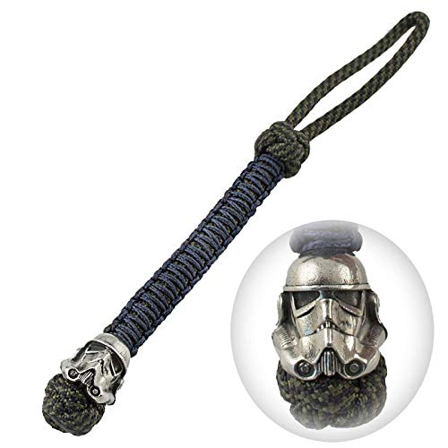 Unique Paracord Lanyard - Custom Colors & Length - Decorated with Hand-Casted Polished Bead - Used with Keys, Knives, Flashlights, Cameras - US Military Grade Type III 550 Lb Cord ()