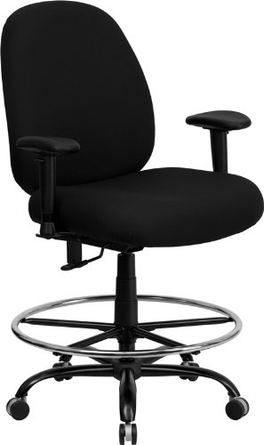 Flash Furniture HERCULES Series Big & Tall 400 lb. Rated Black Fabric Drafting Chair with Adjustable Arms by Flash Furniture