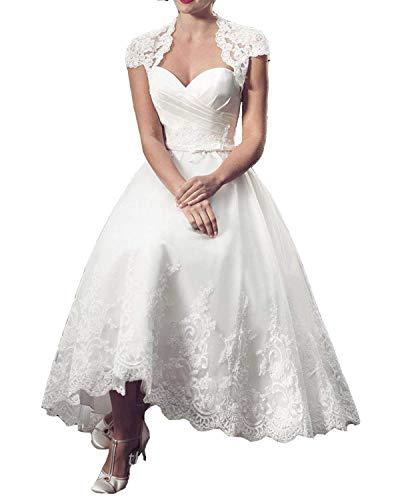 JQLD Women\'s Lace Strapless Knee Length Wedding Dresses Formal ...
