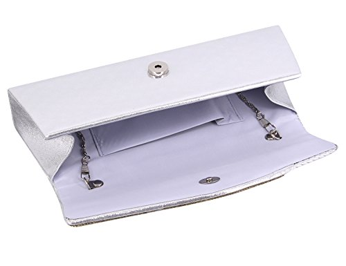 Detachable silver With Ladies Clutch Chain Dazzling Flap Bag D02 Naimo Bag Evening HwO4SqwP8