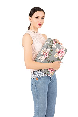 MOSISO Laptop Shoulder Bag Compatible 13-13.3 Inch MacBook Pro, MacBook Air, Surface Book, Notebook Computer, Canvas Rose Pattern Laptop Shoulder Messenger Handbag Case Cover Sleeve, Gray by MOSISO (Image #5)