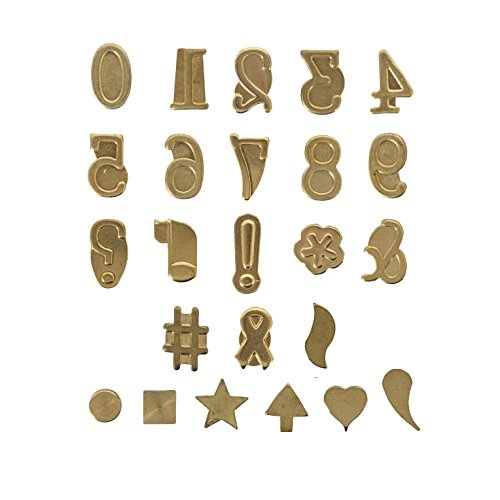 Walnut Hollow Hotstamps Number and Symbol 24 Piece Set for Branding and Personalization on Wood and Leather -