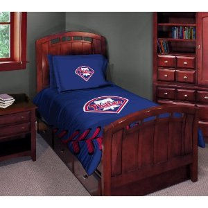MLB Philadelphia Phillies Twin/Full Comforter with Two Pillow - Phillies Philadelphia Bedding